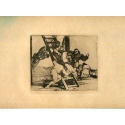FRANCISCO DE GOYA «Duro es el paso» Grabado original nº 14 de los Desastres de la guerra. Calcografía Nacional.
