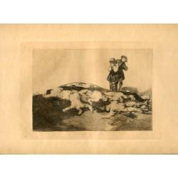 FRANCISCO DE GOYA «Enterrar y callar» Grabado original nº 18 de los Desastres de la guerra. Calcografía Nacional.