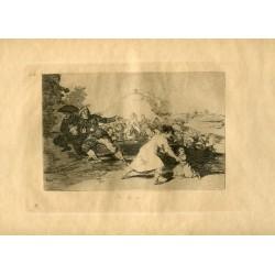FRANCISCO DE GOYA «Yo lo vi» Grabado original nº 44 de los Desastres de la guerra. Calcografía Nacional.