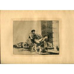 FRANCISCO DE GOYA «Al cementerio» Grabado original nº 56 Desastres de la guerra. Calcografía Nacional.