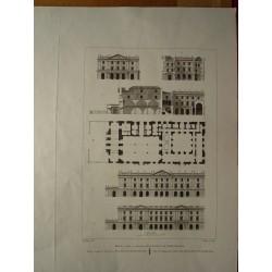 España. Barcelona. «Plano, corte y elevación de la Lonja de Barcelona» Alexandre Laborde (1810-11)