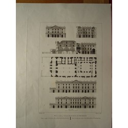 Spain. Barcelona. 'Plan, elevation and section of the Exchange at Barcelona' Alexandre Laborde (1810-11)