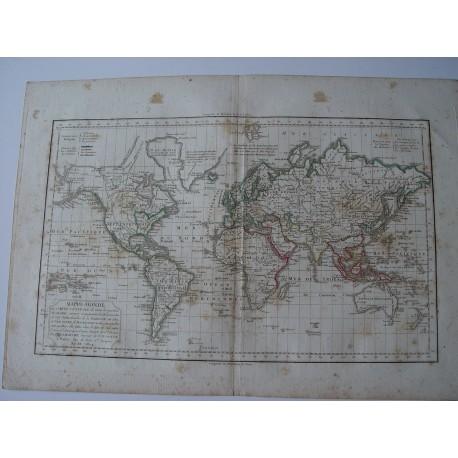 «Mappe Monde» por Robert de Vaugondy-Delamarché Paris 1804