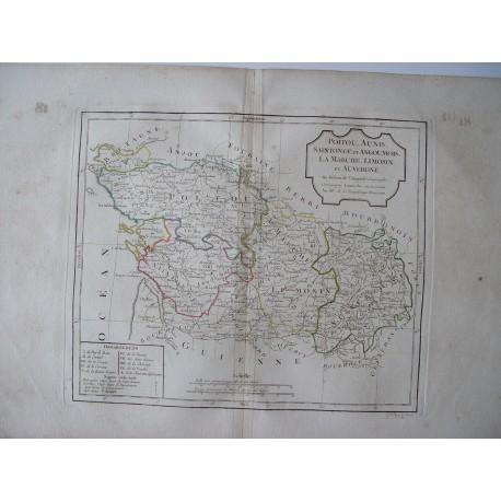 «Poitou, Aunis, Saintonge et Angoumois, La Marche, Limosin et Auvergne» par Robert de Vaugondy-Delamarché 1800.