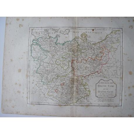«Cercles de Haute Saxe et de Basse-Saxe par Robert de Vaugondy-Delamarché 1800.