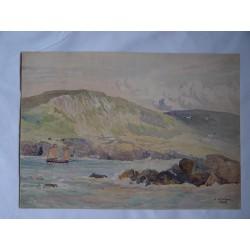 Escena de costa  L.H. Winn. Fechada en 1922. Acuarela inglesa del siglo XIX-XX.