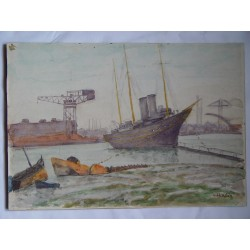 Puerto L.H. Winn. Acuarela inglesa del siglo XIX-XX.