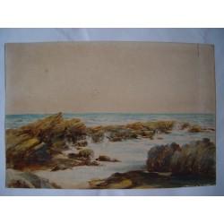 Escena de costa Acuarela inglesa del siglo XIX.