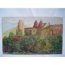 Paisaje con castillo Acuarela inglesa del siglo XIX-XX