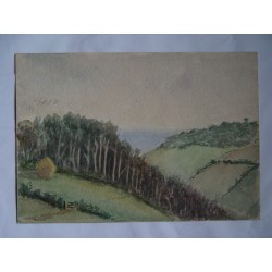 Paisaje Acuarela inglesa siglo XIX-XX