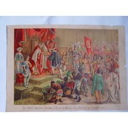 Los Reyes Católicos reciben a Colon en Barcelona volviendo de su primer viaje