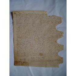 Documento notarial del siglo XVI sobre pergamino. Fechado en Arenys en 1525.