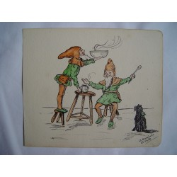 Dibujo cómico Firmado por A. Daniels. Fechado en 1914.