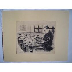 Profesor con sus alumnos Dibujo a tinta de Gabirondo.