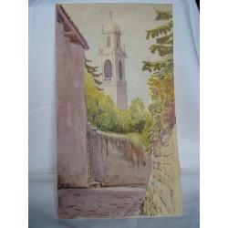 Calle de pueblo y torre. Acuarela de la escuela inglesa del siglo XIX-XX.