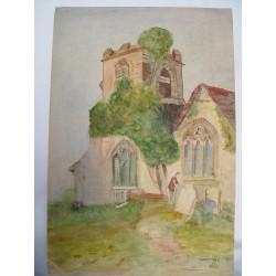Iglesia con torre Acuarela inglesa.