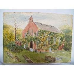 Ermita. Acuarela de la escuela inglesa siglo XIX-XX. Firmada iniciales.