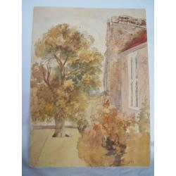 Casa con jardín. Acuarela de la escuela inglesa del siglo XIX-XX.  Firmada iniciales.