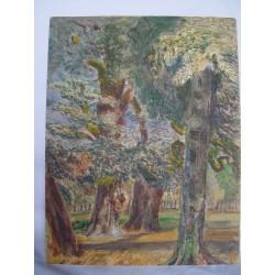 Bosque'Acuarela de la escuela inglesa del siglo XIX-XX.