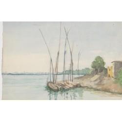 Tema de costa. Acuarela de la escuela inglesa del siglo XIX-XX.