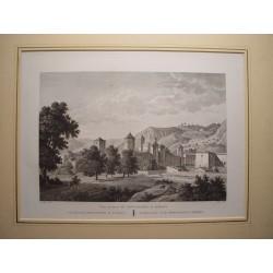 España. Cataluña. Tarragona. «Vista general del Monasterio del Poblet» Alexandre Laborde 1810-11)