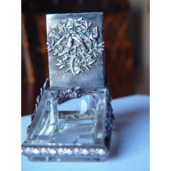 Cenicero y cerillero de cristal