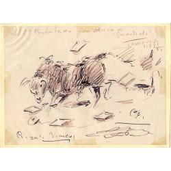 Angel Gonzalez Marcos. Dibujo: El 2º Protestado por  duro.de Guardiola Zaragoza, 1921