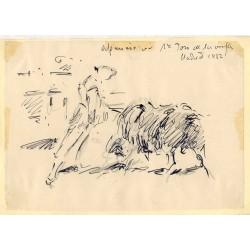 Angel Gonzalez Marcos. Dibujo: Aparicio 1º toro de la Vega Madrid 1952