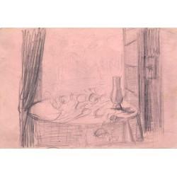 Jose Lopez Guntín (Villalba, Lugo 1929-Lugo1996) Bodegón Dibujo a lapiz.