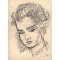Jose Lopez Guntín (Villalba, Lugo 1929-Lugo1996) Retrato Dibujo a lapiz.