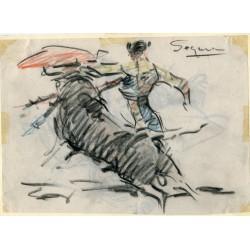 El torero Segura dibujo carboncillo de Angel Gonzalez Marcos.