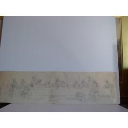 Boceto antiguo de la Ultima Cena boceto a lápiz. Pintor anónimo posiblemente valenciano