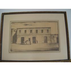 Cuartel del Rey Alicante. Litografía  antigua.
