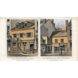 «Old tavern in Brodway and Old Shanty (News depot) 177 Bovery» 1862