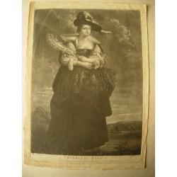 «Rubens 2ª wife» mezotinta sobre obra de Van Dyck, grabó J. Mc. Ardell