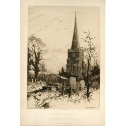 «Harrow Church» grabado por Percy Robertson para The Art Journal.