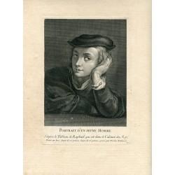 «Portrait d'un jeune homme» grabado por Nicolas Edelinck