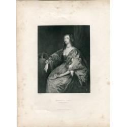 «Henrietta Maria» Queen of Charles I grabado por W.H.Watt en 1840