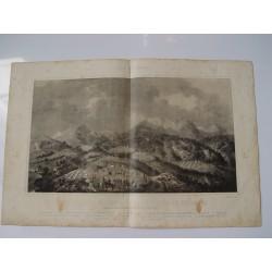 «Vista general del campamento y sierra de Bullones» 1860 litografia por P. Perez de Castro