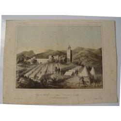 «Vista del campamento de Serrallo y del reducto de Isabel 2ª» 1859. Litografia por Perez de Castro.
