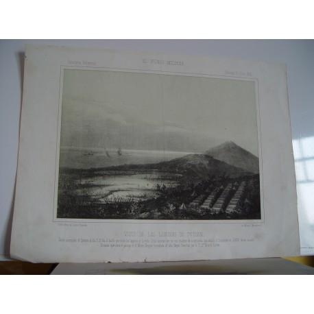 «Vista de las lagunas de Tetuan» litografia por P. Perez de Castro. 1860