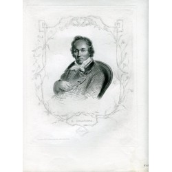 Retrato. Casimir Delavigne grabado por A. Riffaut