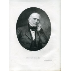 Retrato Eugene Scribe litografia por Pirodon copia de una fotografia de Nadar.