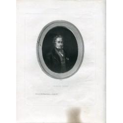 Retrato Charles Nodier. Grabado por A. Riffaut