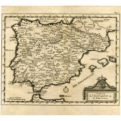 Carte de l'Espagne&de Portugal por Pieter Vander Aa 1707