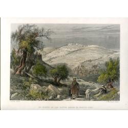 Palestina. El monte de los Olivos desde el monte Sion, grabado por S. Bradshaw, 1878
