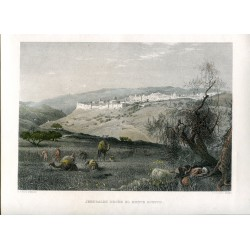 Palestina. Jerusalen desde el monte Scopus grabado por C. Cousen