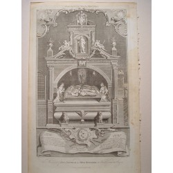 «The Monument of King Henry II and King Richard I at Font Errant in Anjou» Dib.Gravelot. Grabó Goldar (Oxford,1729-Londres,1795)