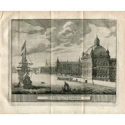 Portugal.Vue du Palais Royal de Lisbonne grabado de Alvarez de Colmenar 1715