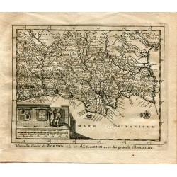 Nouvelle Carte du Portugal et Algarve avec les grands Chemins grabado de Alvarez de Colmenar en 1715.